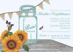 Sunflower mason jar invitation