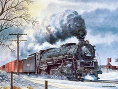 Art Train Journeys : Steam Train Painting by Howard Fogg  - Railroad  Art  :  Wabash Steam Locomotive # 2910  47