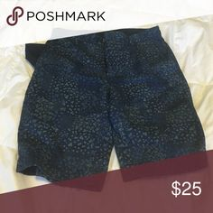 "Men's J. Crew Printed Shorts 9"" J Crew dark blue printed shorts. They come down to the middle of the knee on me. I am 5'6"". 29 waist. Very good condition. Have been worn only three times. J. Crew Shorts Flat Front"