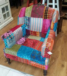 Fabulous jewel colours on this patchwork chair! Funky Furniture, Recycled Furniture, Colorful Furniture, House Design Photos, Cool House Designs, Patchwork Chair, Boho Home, Cool Chairs, Upholstered Chairs