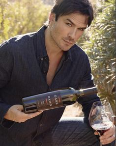 My wine. I've named it Dark ll Dawn or It's launching literally right now TODAY in China! I'm so proud of this wine. Over 3 years, The Vampire Diaries, Vampire Diaries The Originals, Nikki Reed, Ian And Nikki, Ian Somerhalder Movies, Ian Somerhalder Vampire Diaries, Damon Salvatore, Delena, Nina Dobrev