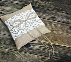 Rustic Natural Burlap/Hessian Wedding Ring Bearer Pillow/Cushion with Cream Cotton Lace