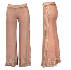 Vintage Style High Waist Wide Leg Pink Pants by Michal Negrin Decorated with Elastic Waist, Vintage Floral Pattern, Swarovski Crystals and Lace Trim at the Waistband Michal Negrin. $635.00