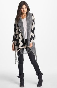 BP. Zigzag Hooded Poncho (Juniors) (Online Only) available at #Nordstrom