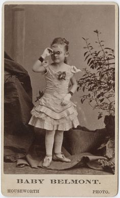 """ca. 1855-95, [carte de visite portrait of """"Baby Belmont"""" in costume with opera glasses], Thomas Houseworth via the Yale Collection of Western Americana, Beinecke Rare Book and Manuscript Library, Carl Mautz Collection"""