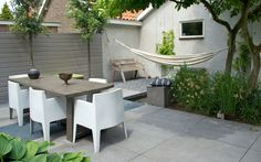 Pebble Groundcover With Hammock And Bench In Little Unused Yard Cubby Area. Delicate Fabric Pillows, Splashes Of Plant Color. Outdoor Decor, Outside Living, Outdoor Rooms, Garden Architecture, Outdoor Garden Furniture, Little Garden, Garden Inspiration, Outdoor Dining, Small Garden Inspiration