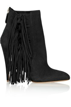 Brian Atwood Pipi fringed suede ankle boots – 64% at THE OUTNET.COM