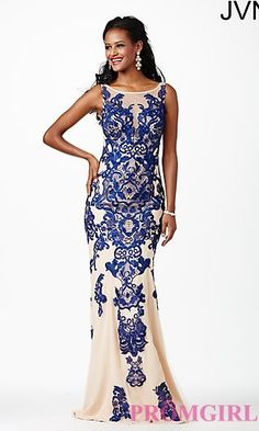Embroidered Open Back Gown JVN27559 from JVN by Jovani at PromGirl.com