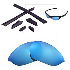 11d1712023b Walleva Replacement Lenses Or LensesRubber for Oakley Half Jacket  Sunglasses 41 Options Available Ice Blue Polarized Lenses Black Rubber    Want additional ...