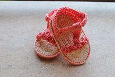 Le mie creazioni: Sandalini neonato rosa  Scarpine sandalini create ...