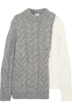 Gray and cream cable-knit Slips on 36% wool, 26% polyamide, 24% alpaca, 14% mohair Hand wash or dry clean Made in Italy