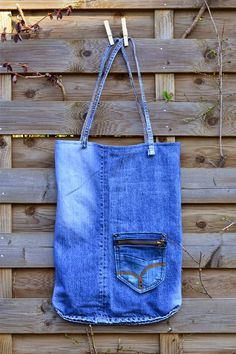 Einkaufstasche aus Jeans / Shopping bag made from old pair of jeans / Upcycling