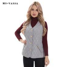 5c216ba11cb MS VASSA Women Vest basic Autumn Winter Female waistcoat padded sleeveless  Jacket lady casual brand outerwear