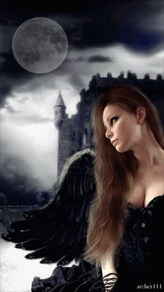 Feeling the moon from My angel heart Filling the reality with pure love Gothic Fantasy Art, Fantasy Women, Fantasy Girl, Dark Fantasy, Gothic Angel, Gothic Vampire, Dark Gothic, Vampire Pictures, Angel Pictures