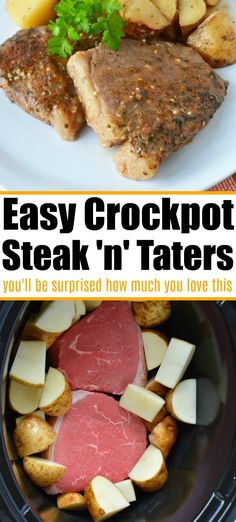 Crockpot steak and potatoes is a great dinner idea that cooks all day by itself! Tender and delicious every time. Slow cooker meals are the way to go. day dinner crockpot Crockpot Steak and Potatoes in a Snap! Crockpot Steak Recipes, Slow Cooker Recipes, Beef Recipes, Cooking Recipes, Steak In The Crockpot, Fast Crockpot Meals, Dinner Crockpot, Top Recipes, Easy Healthy Recipes