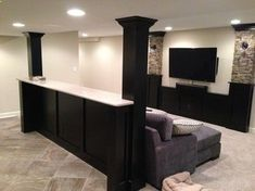 Basement built in cabinets and bars - traditional - basement - chicago - Hogan Design & Construction (HDC) - indoorlyfe.com