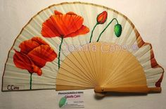 Abanicos pintados a mano por Claudia Cano Hand Held Fan, Hand Fans, Coloring Books, Coloring Pages, Fancy Hands, Vintage Fans, Flower Aesthetic, Poppies, Party Supplies