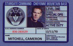 Cameron Mitchell ID Stargate