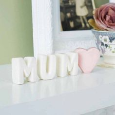Free Standing Ceramic Letters - I love this, its so sweet! It would make a great mothers day gift!