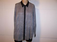 COLDWATER CREEK Shirt Blouse 1X 18 No Iron Gray Black Button Front Long Sleeves #ColdwaterCreek #ButtonDownShirt #Casual