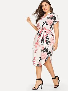 Shop Plus Self Tie Waist Curved Hem Dress online. SHEIN offers Plus Self Tie Waist Curved Hem Dress & more to fit your fashionable needs. Plus Size Dresses, Nice Dresses, Dresses For Work, Coat Dress, Dress P, Natural Clothing, Vestido Casual, Looks Plus Size, Curvy Dress