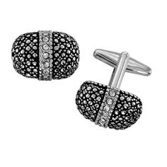 Unique Shape Cufflinks With Black Hammered Texture Set With Row Of Crystalks alfa perry. $9.99