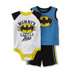 DC Comics Batman Newborn Boy's Bodysuit, Tank Top & Shorts