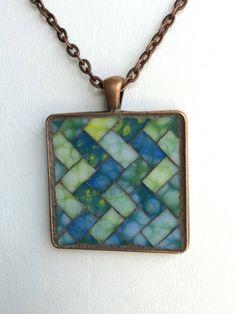 Square Mosaic Pendant with Chain por SunDogMosaics en Etsy