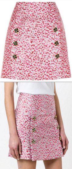 Metallic Jewel-Button Jacquard Brocade Mini Skirt