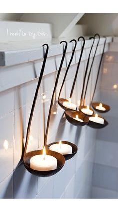 Soup ladles + tea lights