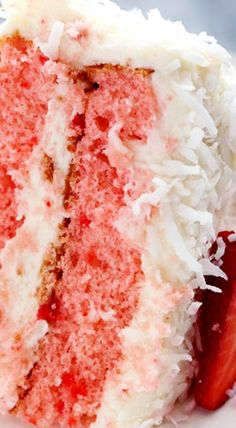 Strawberry Coconut Cream Cake with Coconut Cream Cheese Frosting cake cheesecake cake cupcakes cake decoration cake fancy dessert cake Strawberry Coconut Cakes, Strawberry Desserts, Strawberry Frosting, Coconut Poke Cakes, Sweet Recipes, Cake Recipes, Dessert Recipes, Picnic Recipes, Food Cakes