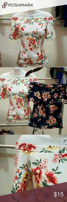 S/S off shoulder yop Strecht crepe floral top s/s off shoulder top cesem Tops Blouses