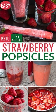 Easy to make low carb keto strawberry popsicles need just plus water. The recipe is perfect for making homemade freezer pops. Easy to make low carb keto strawberry popsicles need just plus water. The recipe is perfect for making homemade freezer pops. Low Carb Sweets, Low Carb Desserts, Low Carb Drinks, Dessert Recipes, Dinner Recipes, Healthy Low Carb Recipes, Low Carb Keto, Healthy Strawberry Recipes, Raw Recipes