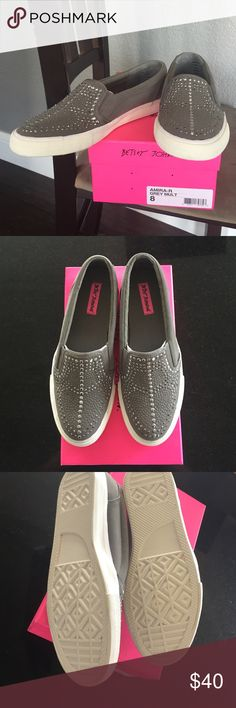 Betsey Johnson sneakers Betsey Johnson Amira grey slip on sneakers with silver studs, size 8.  New in box. Betsey Johnson Shoes Sneakers