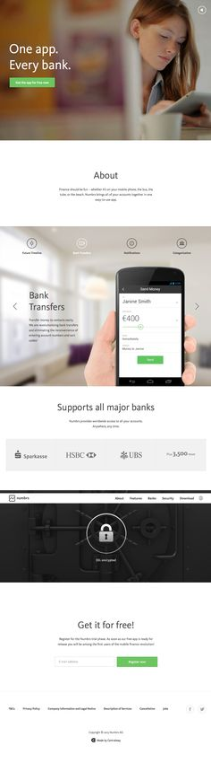 Numbrs: One #app. Every bank. #flat design #website
