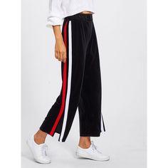 Split Striped Side Wide Leg Pants ($19) ❤ liked on Polyvore featuring pants, black, stretch velvet pants, elastic waistband pants, velvet wide leg pants, stripe pants and long pants