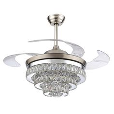 60 spyder chrome ceiling fan with crystal discs light kit parrot uncle ceiling fans with lights modern led ceiling fan retractable blades crystal chandelier fan with remote control cool white not dimmable chrome aloadofball Choice Image