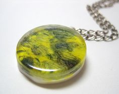Yellow and Purple Abstract Art Pendant, Free Shipping! I made this with a glass tile, acrylic paint, and white resin. $15.00