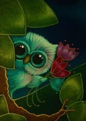 Art: SPRING TINY OWL FLOWERS FOR YOU by Artist Cyra R. Cancel