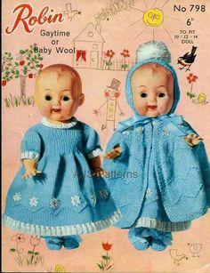 Doll knitting pattern  ROBIN  Doll dress cape bootees by carolrosa, $1.65
