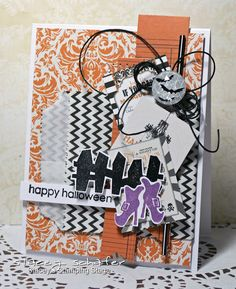 happy halloween by - Cards and Paper Crafts at Splitcoaststampers Halloween Cards, Happy Halloween, Toil And Trouble, Paper Craft Making, Teresa Collins, Hand Stamped Cards, Stamp Making, Paper Hearts, Paper Design