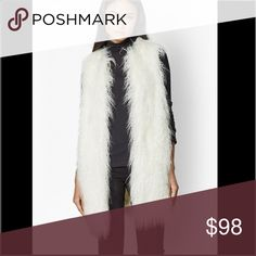 """French Connection Chicago Fur Gimlet Long faux-fur gilet Sleeveless Satin lined interior Opened front Designed for mid-thigh length Loose, oversized fit 31"""" French Connection Jackets & Coats Vests"""