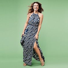 Dannii Minogue Petites Hummingbird Maxi Dress - Blue