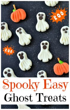 """Could use this """"mixture"""" to make different things for different occasions. These Spooky Easy Ghost Treats can be whipped up in a jiffy and are the perfect candy to share this Halloween! Halloween Goodies, Halloween Food For Party, Halloween Desserts, Halloween Trick Or Treat, Spooky Halloween, Holidays Halloween, Halloween Treats, Halloween Recipe, Oreo Dessert"""