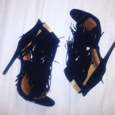 Shoe Republic LA Black Suede Fringe Heels Brand New in original box. Add a little trendy touch to any fall outfit! Shoes Heels