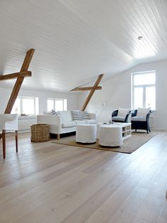 so pretty. I love the white crisp feel of this living space Attic Rooms, Attic Spaces, Attic Conversion Bedroom, Interior Architecture, Interior And Exterior, Attic Inspiration, Style Deco, Home And Living, Coastal Living