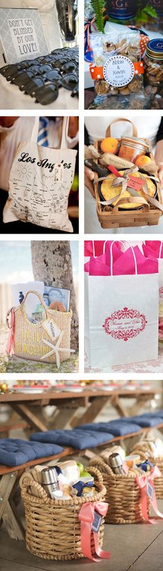 Wedding Guest Welcome Bag Inspiration - Ideas for what to include in your wedding gift bags can range from the hangover helper kit to local souvenirs and everything in between. To help you narrow down the perfect items for your guest gifts bags, we've included some of our favorite ideas.