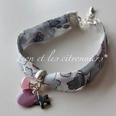 """Bracelet """"reykjavik"""", biais liberty fleuri, sequin et perle vieux rose, étoile grise Léon et les citronniers*"""
