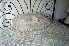 Rare French Normandy Lace Bed Coverlet - Early 1900's