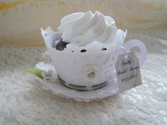 Tea Cup Custom  made Cupcake Wrappers - Teacup and Saucer. $3.75, via Etsy.